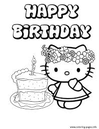 Printable free hello kitty coloring sheets for kids to enjoy the fun of coloring and learning while sitting at home. Hello Kitty Single Cake Birthday Coloring Pages Printable