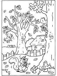 Kleurplaat Herfst Eekhoorn Kleurplatennl