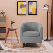 grey fabric armchair tub bucket chair living room office reception sofa lounge 1 of 5 see more