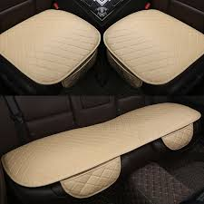 3 pcs set universal leather car seat cover cushion front rear backseat seat cover auto seat protector mat pad convenient cleanin color name bblack with red