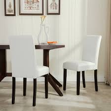 belleze set of 2 furniture urban style leatherette padded solid wood parson chair white amazon ca home kitchen