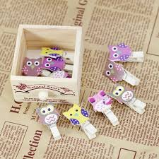Vova Lovely Cartoon Owl Shaped Wood Paper Photo Clip Photo DIY Interesting Bear In Hing Reng