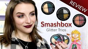 smashbox glitter eyeshadow trios review swatches