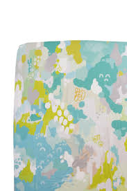 fitted crib sheet in teal watercolor ikat