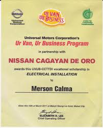 each of the scholars received a certificate like this one during a program hosted by universal motors corporation at the makati shangri la on march 10