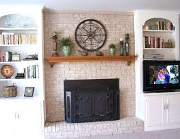 built in wall shelf exciting brick fireplace decorating ideas with black covered fireplace also built in walls shelves plus wooden fireplace mantel shelves