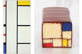 left one of piet mondrian s grid like color block compositions right caitlin freeman s cake homage