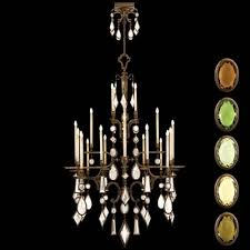 fine art lamps encased gems 24 light chandelier in venerable bronze patina finish with multi