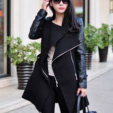 women leather sleeve wool trench coat jacket outwear jpg