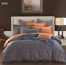 plaids bedding sets blue grey orange duvet cover sheet pillowcases pure cotton bed linens brief hometextiles
