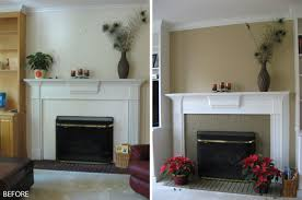 amusing before and after white mantel painted fireplace grey