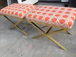 x contemporary bedroom benches: diy x benches coral orange lattice fretwork brass gold legs metal frame foot of bed bench