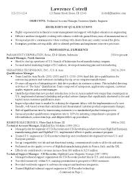 Sample Resume for a Technical Account Manager/ Customer Quality Engineer