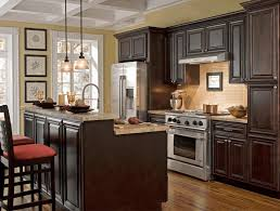 kitchen wall color ideas with dark cabinets majestic twelve armed chandelier brown cultured marble countertop plain white wooden kitchen counter