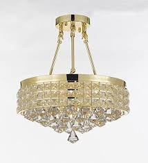 semi flush mount french empire crystal chandelier chandeliers lighting ht 17 x wd 15 4 lights crystal gold metal shade flushmount