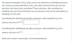 Electron Shielding Solved The Typical Estimation Of Zeff Only Counts Core El