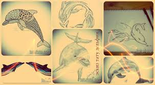 эскизы тату дельфин классные рисунки для татуировки и создания