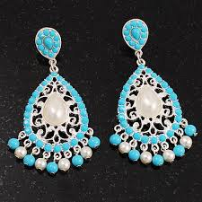 silver plated filigree turquoise coloured acrylic bead imitation pearl chandelier earrings 7cm drop