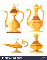 Set Of Arabic Jug And Oil Lamp Illustration Aladdin Magic Or Genie