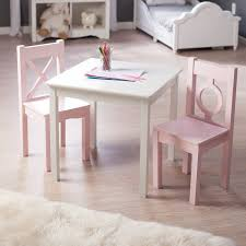 kids table chair set  piece children play room wood pink white