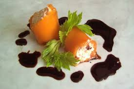 salmon pate in a carrot cannelloni with a balsamic reduction