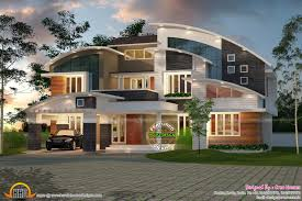 Contemporary Curved Roof House Kerala Home Design And Floor Plans