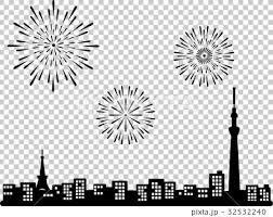 スカイツリーと東京タワーと花火 シルエットのイラスト素材 32532240