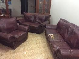 big leather sofa set