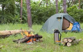 camping in the woods with a fire. Brilliant Camping Camping In The Woods With A Fire Clearing Stock Photo  57918371 Inside In The Woods With A Fire