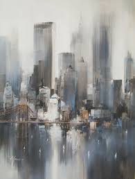 easy acrylic painting ideas abstract landscape new york