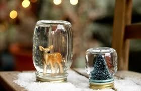 glass jar christmas crafts snowglobes decorative deer snow xmas tree