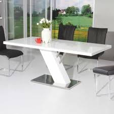 white modern dining room sets. Dining Room Awesome Modern Tables Rectangular Shape Glass Top Wood And Stainless Steel Base White Sets