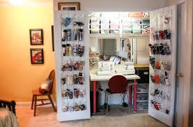 hanging door closet organizer. Sewing Closet Organizer \u2013 When She Is Done Just Closes That Door!! But I Love The Clear Hanging Organizers On Inside Of Doors. Door Top DIY Projects