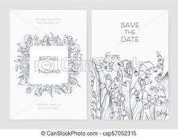 Save The Date Cards Templates Set Of Wedding Party Invitation And Save The Date Card Templates