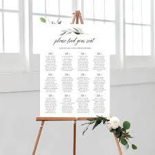 Wedding Seating Chart Editable Greenery Seating Chart