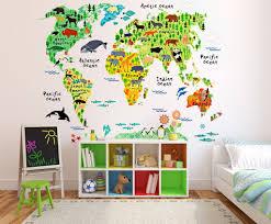 kids educational animal world map wall stickers eveshine l best of sticker