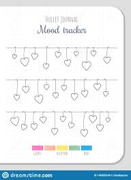 Daily Mood Chart Template Mood Tracker Blank Template For Bullet Journal Stock Vector