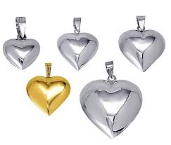 pendant puff hearts sterling silver or 9ct gold