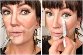 showing placement of lighter foundation around face then adding white eyeliner pencil under eyes to extend the look of the whites of the eyes