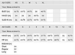 Armani Exchange Size Chart