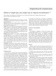 pdf effects of weight gain and weight loss on regional fat distribution
