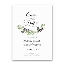 Greenery Wreath Save The Date Wedding Card Purple Berries