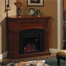 wooden corner electric fireplace