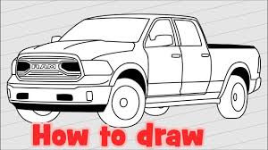 How to draw Truck Dodge Ram 1500 - 2018 Pickup drawing - YouTube