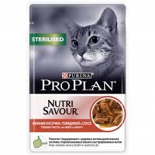 <b>Pro Plan Nutri</b> Savour Sterilised Говядина в соусе <b>пауч</b> для кошек ...