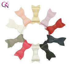 20 pieces lot 3 leather hair bow with ribbon covered clip for kids girls boutique mini two layers bow hairpin hair accessories