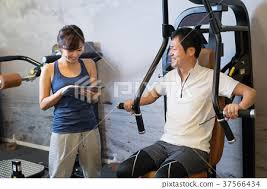 gym instructor gym instructor muscle training stock photo 37566434 pixta