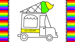 ice cream truck coloring pages. Modren Pages How To Draw Ice Cream Truck Coloring Pages For Kids  Art Colors For Cream Truck E