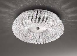 carla crystal small flush ceiling light in chrome kolarz lighting