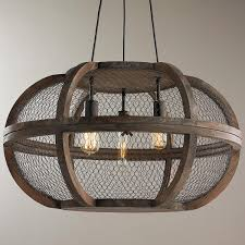 rustic wooden cage chandelier mesh wire wraps around distressed wood frames for an style chandelier this ceiling light is a perfect match over